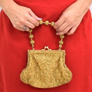 Vintage Gold Sequined Mini Bag With Beaded Strap